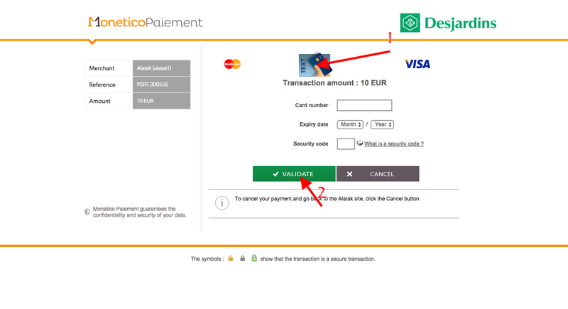 monetico payment page