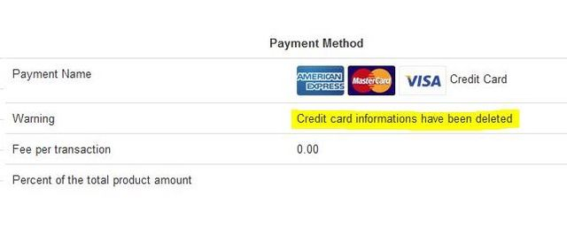 credit card informations have been deleted