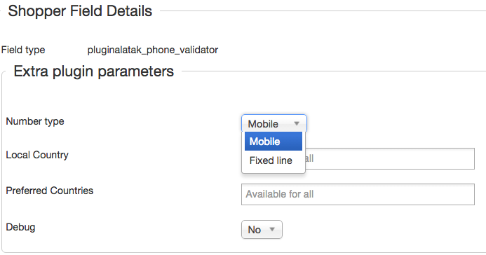 Phone validator extra plugin parameters